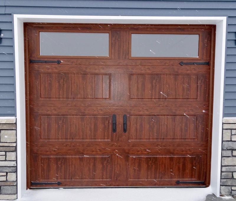 Clopay Gallery Series Garage Door in Ultra-Grain Walnut Finish with Long Panel Bead Board Panels.  Installed by Augusta Garage Door in Clearwater, MN.
